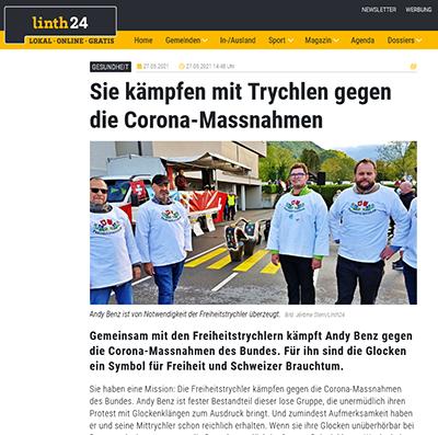 Sie kämpfen mit Trychlen gegen die Corona-Massnahmen - linth24.ch