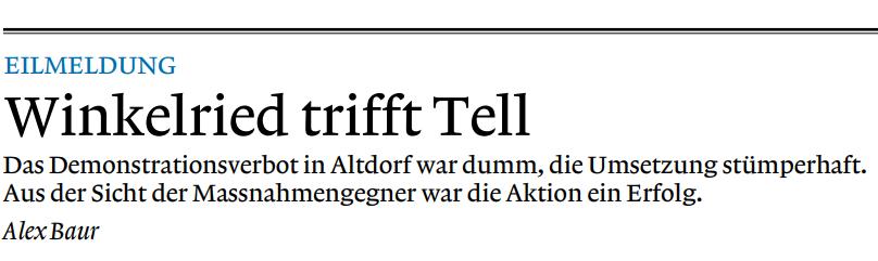 Winkelried trifft Tell - weltwoche.ch