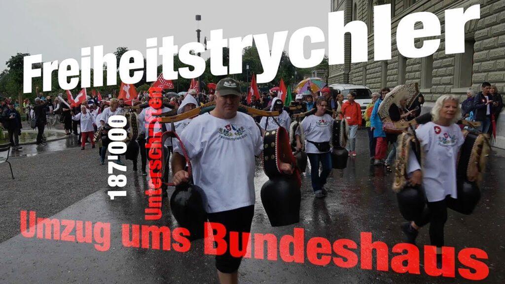 Bern 8.7.2021 | Freiheitstrychler: Umzug ums Bundeshaus